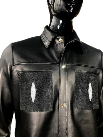 Men's Black Lambskin Leather Button-Up Shirt With Exotic Stingray & Alligator Trimming Style #703