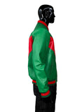 Men's Red/Green Zippered Lambskin Leather Jacket Style #3485