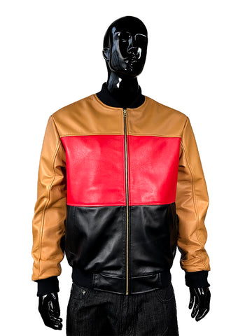 Men's Multi-Color Lambskin Leather Zippered Jacket Style #3420