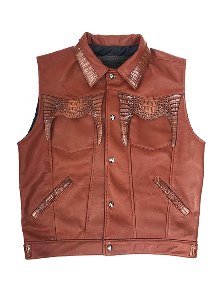 Leather vest with alligator trimming