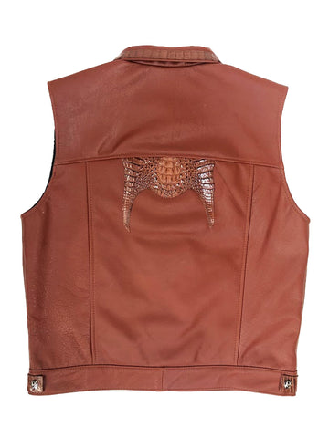 Leather vest with alligator trimming #901