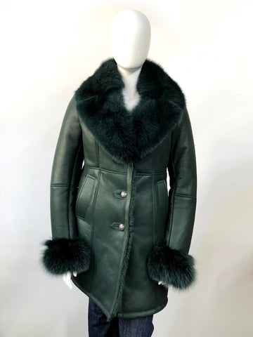 Women 7/8 Sheepskin Coat with Fox Fur Collar and Cuffs Style #1005