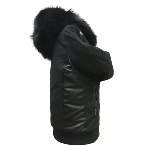 Bomber Cotton Parka Coat with Hood Genuine Fur  Style #6925 - Jakewood Shearlin Leather Mouton Fur Bomber Aviator Parka Coat Jacket Sheepskin All size Brooklyn New York manufacturer