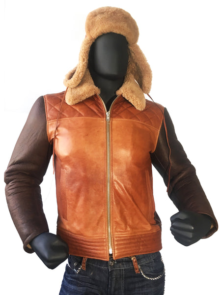 Sheepskin Jacket with Quilted Details Style #1800 - Jakewood Shearlin Leather Mouton Fur Bomber Aviator Parka Coat Jacket Sheepskin All size Brooklyn New York manufacturer