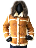 Sheepskin Jacket Open Stitch and Toggle closer Style #4700 - Jakewood Shearlin Leather Mouton Fur Bomber Aviator Parka Coat Jacket Sheepskin All size Brooklyn New York manufacturer