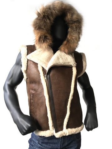 Sheepskin Jacket with Hood and  Fur Style #3900 - Jakewood Shearlin Leather Mouton Fur Bomber Aviator Parka Coat Jacket Sheepskin All size Brooklyn New York manufacturer