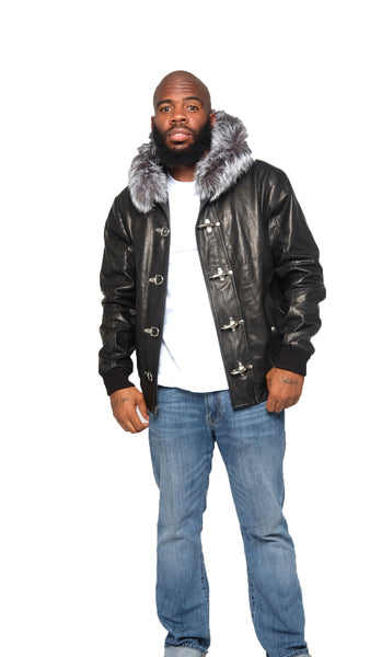 Leather Jacket With Sliver Fox Fur Hood Style #3460 - Jakewood Shearlin Leather Mouton Fur Bomber Aviator Parka Coat Jacket Sheepskin All size Brooklyn New York manufacturer