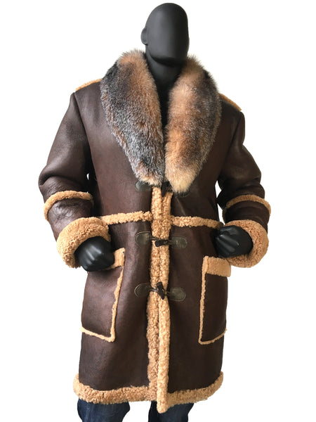 Sheepskin Trench Coat With Fox Fur Collar Style #4920 - Jakewood Shearlin Leather Mouton Fur Bomber Aviator Parka Coat Jacket Sheepskin All size Brooklyn New York manufacturer