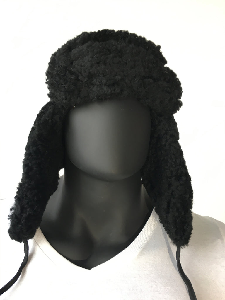 841f9ed66 Shearling Sheepskin Russian Style Hat Black