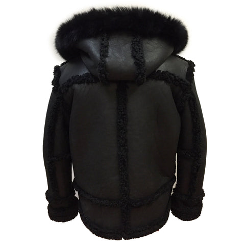 Sheepskin Jacket Toggle Closer with Hood and Fur Style #4700 - Jakewood Shearlin Leather Mouton Fur Bomber Aviator Parka Coat Jacket Sheepskin All size Brooklyn New York manufacturer