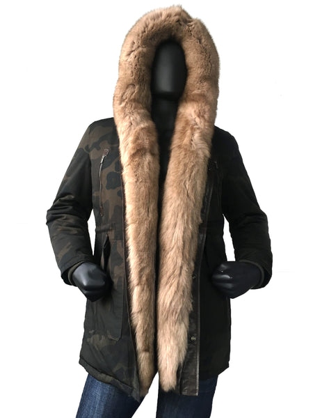 Men's Genuine Fur Cotton Parka Long Style #102 - Jakewood Shearlin Leather Mouton Fur Bomber Aviator Parka Coat Jacket Sheepskin All size Brooklyn New York manufacturer