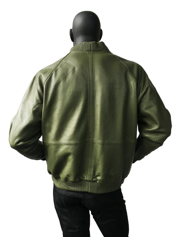Leather baseball jacket olive