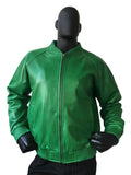 Leather baseball jacket green