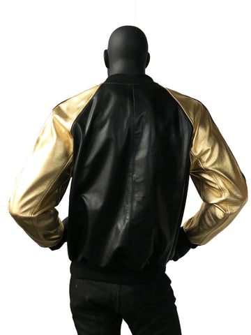 Genuine Leather Baseball Jacket Black Gold Style#1095 - Jakewood Shearlin Leather Mouton Fur Bomber Aviator Parka Coat Jacket Sheepskin All size Brooklyn New York manufacturer