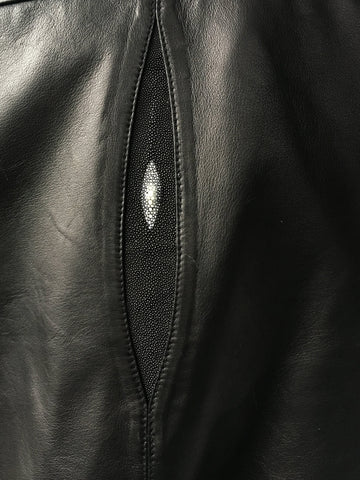 Genuine Leather Baseball Jacket with Stingray Trimming Style #3440 - Jakewood Shearlin Leather Mouton Fur Bomber Aviator Parka Coat Jacket Sheepskin All size Brooklyn New York manufacturer