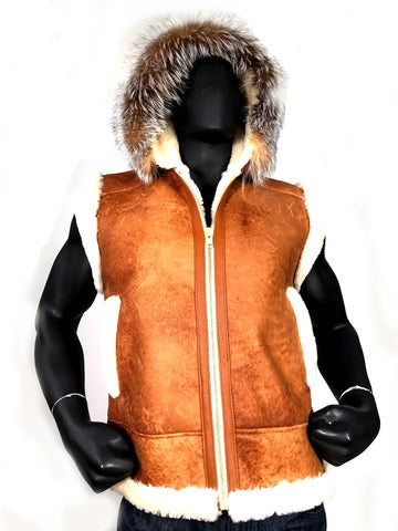 Sheepskin Jacket with Hood & Fur Style #3900
