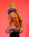Women Sheepskin Jacket with Fur trimming Style #1086