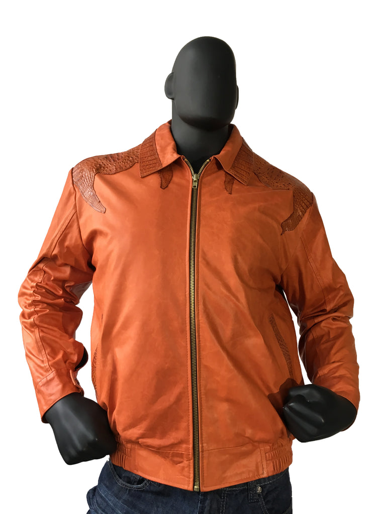 a0e4b6ae8 Lambskin Bomber Jacket with Alligator Trimming Shoulders, Pocket, Collor  Style #3415