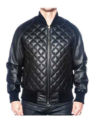 Leather Baseball Varsity Jacket Quilted Front Style #1060 - Jakewood Shearlin Leather Mouton Fur Bomber Aviator Parka Coat Jacket Sheepskin All size Brooklyn New York manufacturer