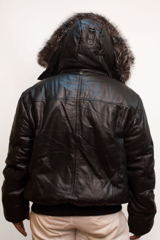 Leather Bomber Jacket with Fur Hood Style #2920 - Jakewood Shearlin Leather Mouton Fur Bomber Aviator Parka Coat Jacket Sheepskin All size Brooklyn New York manufacturer