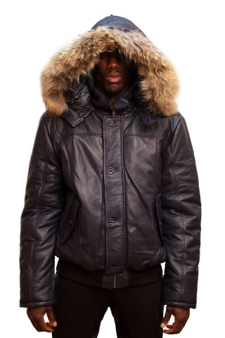 Leather Bomber Jacket with Fur Hood Style #2920