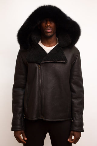 Men's Shearling Winter Jacket with Hood Fur Black Style #900H - Jakewood Shearlin Leather Mouton Fur Bomber Aviator Parka Coat Jacket Sheepskin All size Brooklyn New York manufacturer