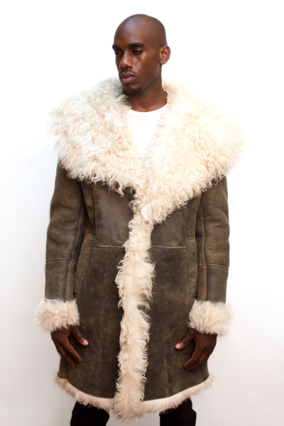 Mongolian Fur Sheepskin Coat Style #5700 - Jakewood Shearlin Leather Mouton Fur Bomber Aviator Parka Coat Jacket Sheepskin All size Brooklyn New York manufacturer