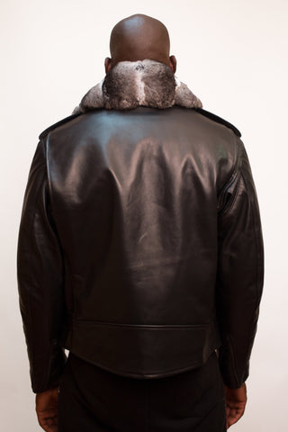 Motorcycle Biker Jacket with Chinchilla Fur Collar Style #3011-1 - Jakewood Shearlin Leather Mouton Fur Bomber Aviator Parka Coat Jacket Sheepskin All size Brooklyn New York manufacturer