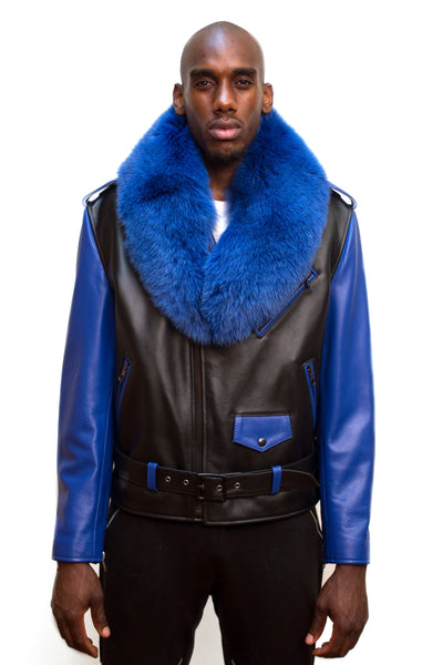 Motorcycle Biker Jacket with Fur Collar Style #3011 - Jakewood Shearlin Leather Mouton Fur Bomber Aviator Parka Coat Jacket Sheepskin All size Brooklyn New York manufacturer