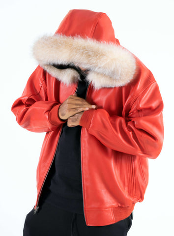 Heavyweight lambskin leather jacket with fox fur trimmed hood Style #2066H
