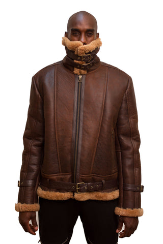 Sheepskin Bomber Jacket Style #6300 - Jakewood Shearlin Leather Mouton Fur Bomber Aviator Parka Coat Jacket Sheepskin All size Brooklyn New York manufacturer