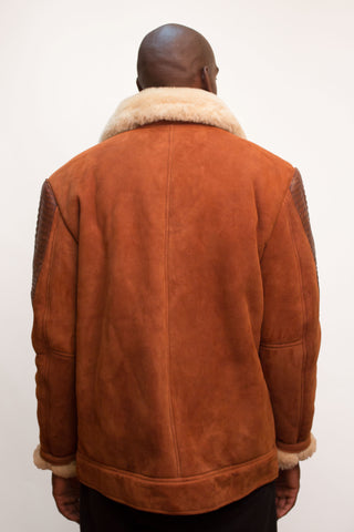 Sheepskin Jacket with Alligator trimming Style #7700 - Jakewood Shearlin Leather Mouton Fur Bomber Aviator Parka Coat Jacket Sheepskin All size Brooklyn New York manufacturer