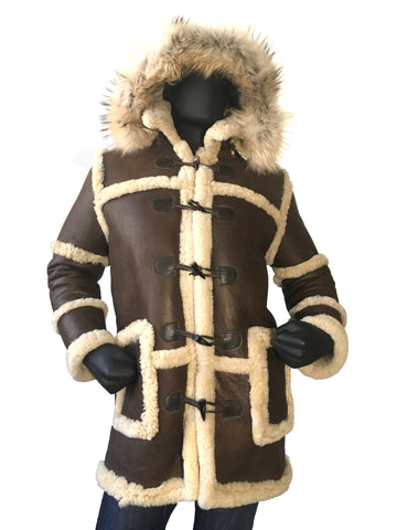 Sheepskin Long Jacket Toggle Closer with Hood and Fur Style #4100 - Jakewood Shearlin Leather Mouton Fur Bomber Aviator Parka Coat Jacket Sheepskin All size Brooklyn New York manufacturer