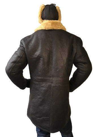 Sheepskin Napa Finish Trench Coat Style #4400 - Jakewood Shearlin Leather Mouton Fur Bomber Aviator Parka Coat Jacket Sheepskin All size Brooklyn New York manufacturer
