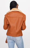Women Leather Motorcycle Jacket with Sheepskin Collar Style #1033