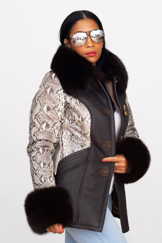 Womens Sheepskin Jacket with Fox Fur and Python Style #1077