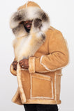Men's Sheepskin Shearling Toggled Coat With Fox Collar and Hood Style #4950H