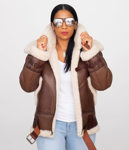 Ladies Bomber Sheepskin Jacket with Double Collar #1003