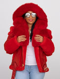 Ladies Raising Sheepskin Jacket with Fur Collar and Hood