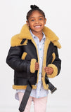 Sheepskin Unisex Kids Bomber jacket with double collar Style # Chicago