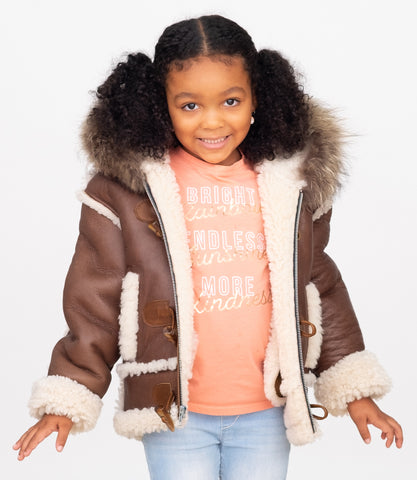 Sheepskin Kids jacket with hood and toggle and zipper closure Style #Brooklyn