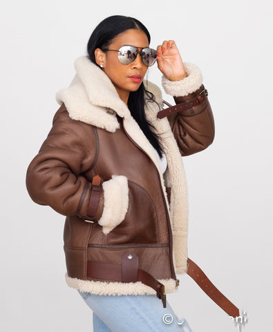 Ladies Bomber Sheepskin Jacket with Double Collar