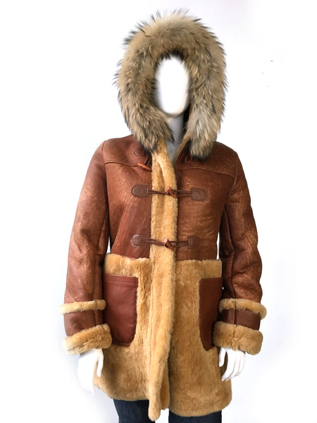 Women's Long Sheepskin Coat with Fur Style #1044 - Jakewood Shearlin Leather Mouton Fur Bomber Aviator Parka Coat Jacket Sheepskin All size Brooklyn New York manufacturer
