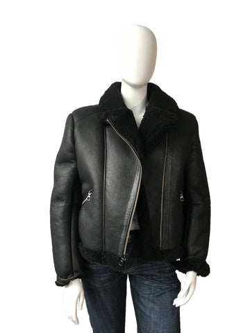 Women's Sheepskin Leather Biker Jacket Style #1045 - Jakewood Shearlin Leather Mouton Fur Bomber Aviator Parka Coat Jacket Sheepskin All size Brooklyn New York manufacturer
