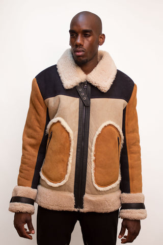Multi-color  Sheepskin  Jacket Style #710 - Jakewood Shearlin Leather Mouton Fur Bomber Aviator Parka Coat Jacket Sheepskin All size Brooklyn New York manufacturer