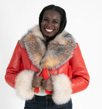 Women's Short Crop Shearling Sheepskin Leather Jacket with Crystal Fox Fur Style #1019