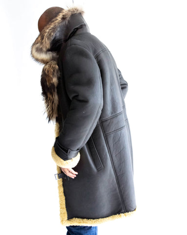 7/8 length mens Sheepskin Coat with Fox Collar Style #8900