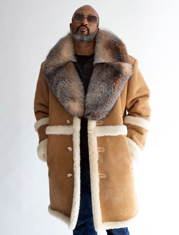 7/8 length sheepskin coat.  Fur collar. Buckle trimmed sleeves Style #8920