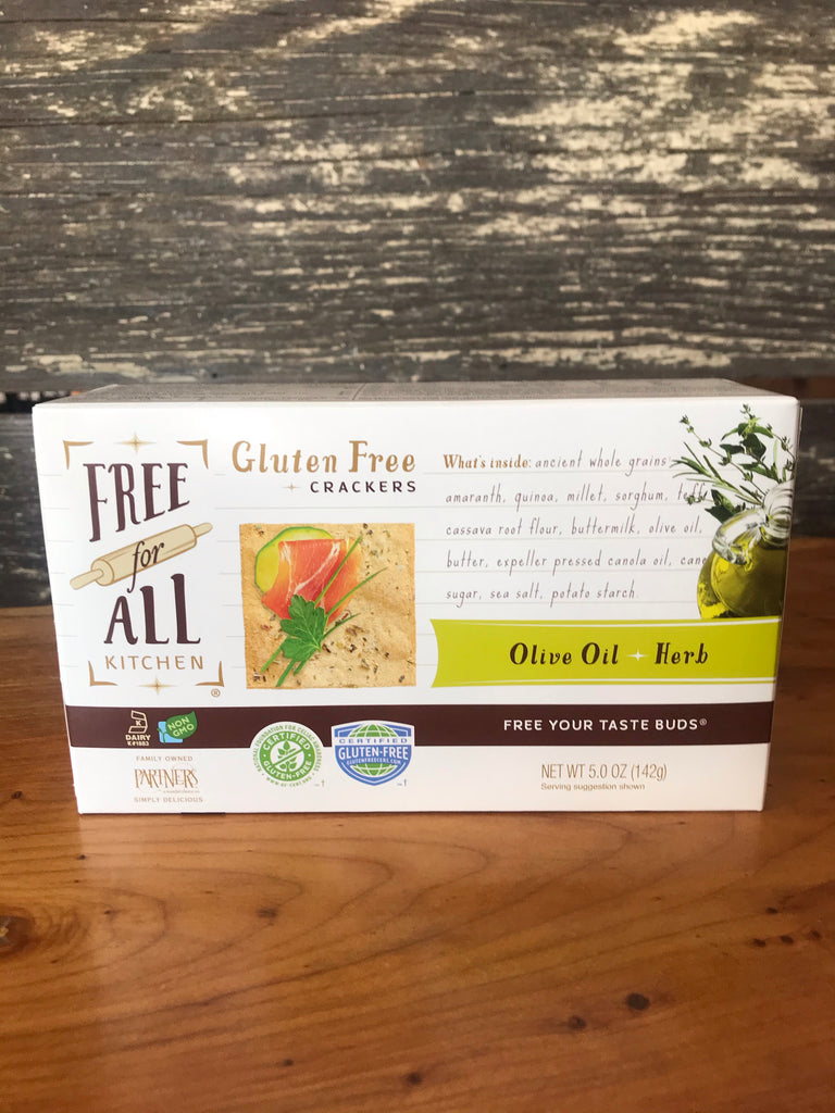 Free for All Kitchen Gluten Free Crackers Olive Oil Herb