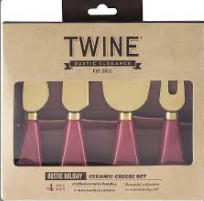 TWINE Rustic Holiday Ceramic Cheese Set